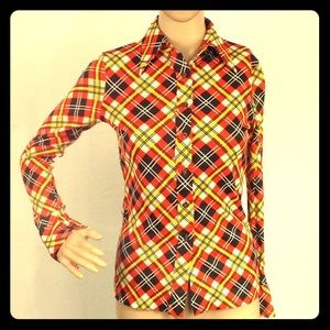 1970 Orange brown Plaid Button Down Fitted Shirt M